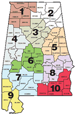 Alabama Map with ARWA Water Districts