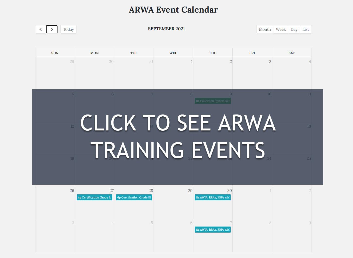 ARWA Training Schedule